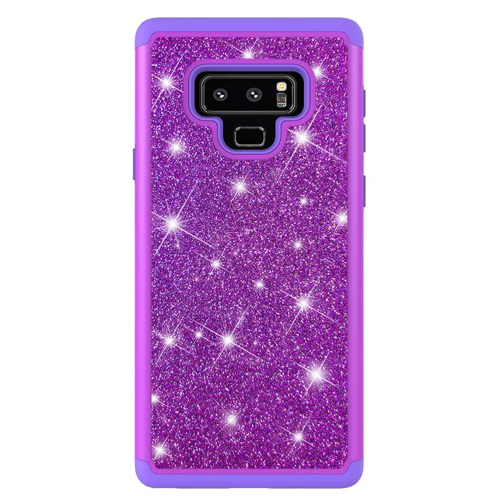 Pink HUDDU Glitzer H/ülle Compatible for Samsung Galaxy Note 9 Handyh/ülle Bling Hart PC Backcover Sparkles Case Abdeckung Soft Flex TPU Silikon Gel Kratzfest Case 2in1 Dual Layer Sto/ßfest Schutzh/ülle