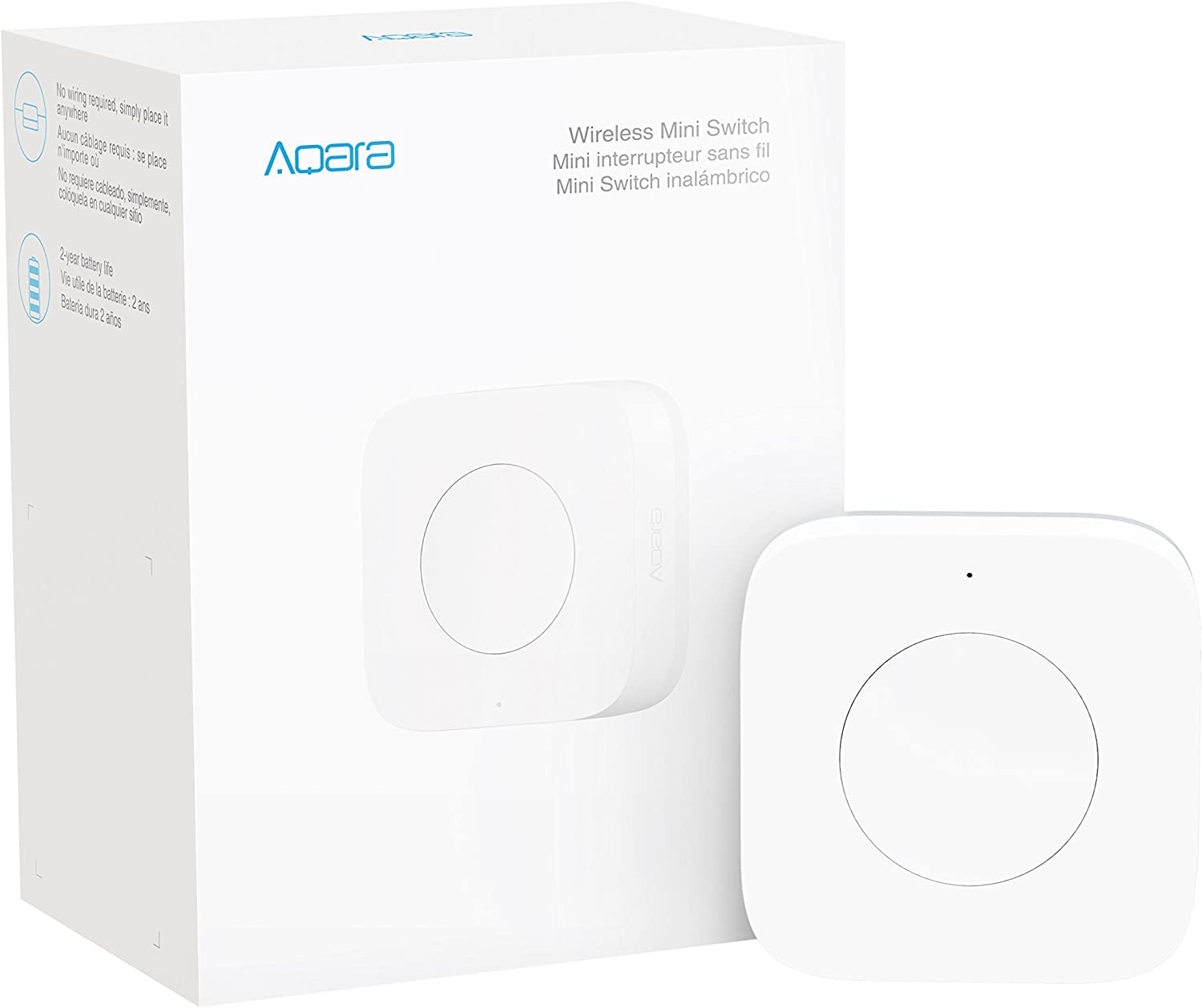 Aqara Wireless Mini Switch, Requires AQARA HUB, Zigbee Connection, Versatile 3-Way Control Button for Smart Home Devices, Compatible with Apple HomeKit