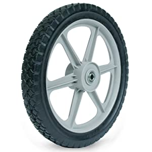 Martin Wheel PLSP14D175 14 by 1.75-Inch Plastic Spoke Semi-Pneumatic Wheel for Lawn Mower, 1/2-Inch Ball Bearing, 2-3/8-Inch Centered Hub, Diamond Tread