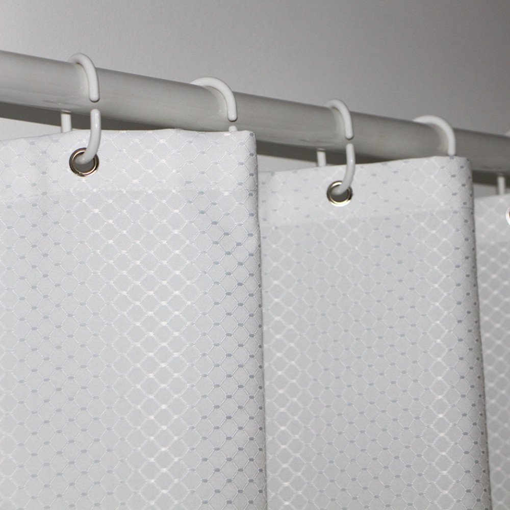 Eforcurtain Heavy Duty Waffle Shower Curtain for Hotel, Waterproof and Mildew-Free Bathroom Curtain Fabric (72Wx72L, White)