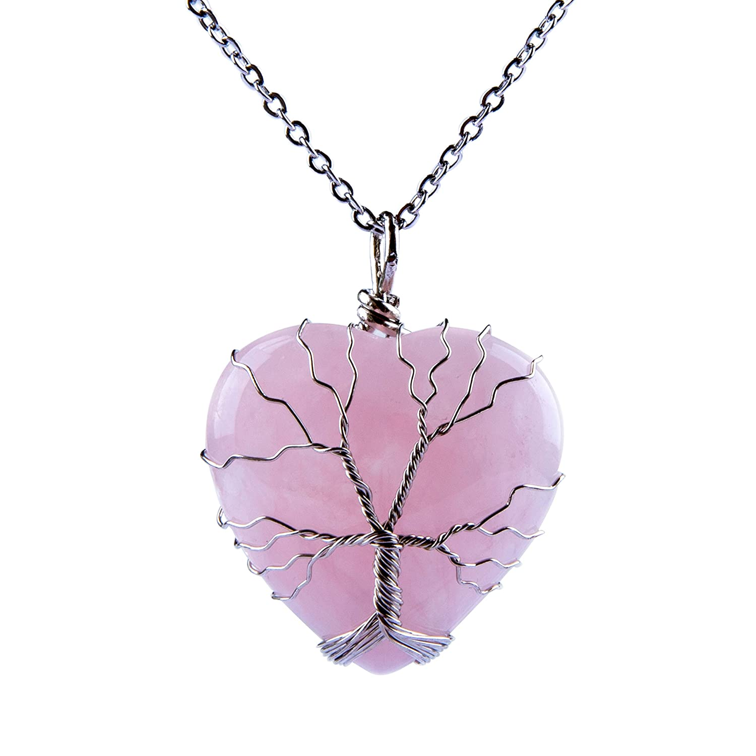 Bivei Tree of Life Wire Wrap Love Heart Chakra Rose Quartz Amethyst Gemstone Crystal Pendant Necklace anbivi1112219