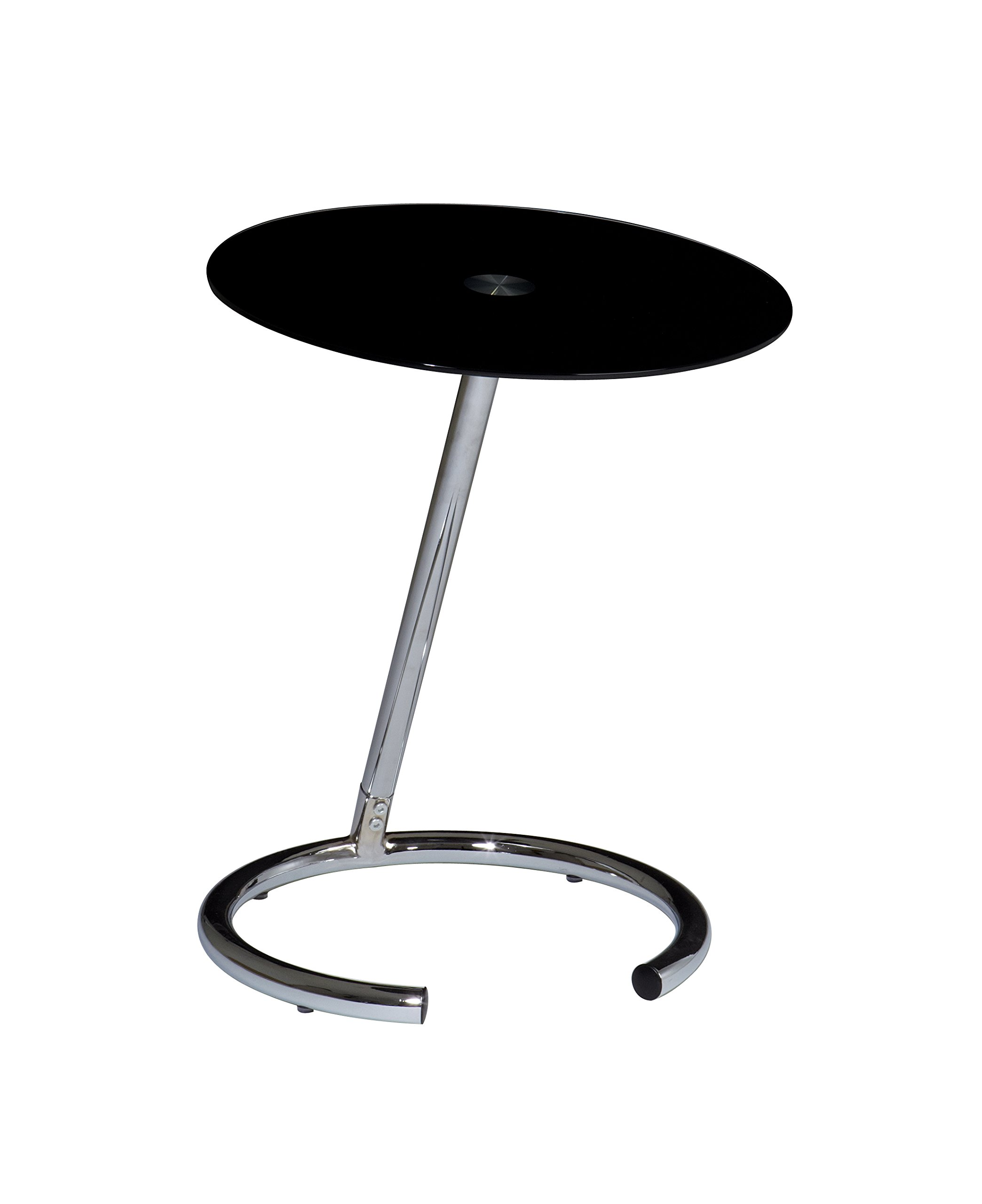 AVE SIX Yield Modern Telephone Table with Chromed Steel Base, Black Glass Top by Avenue Six