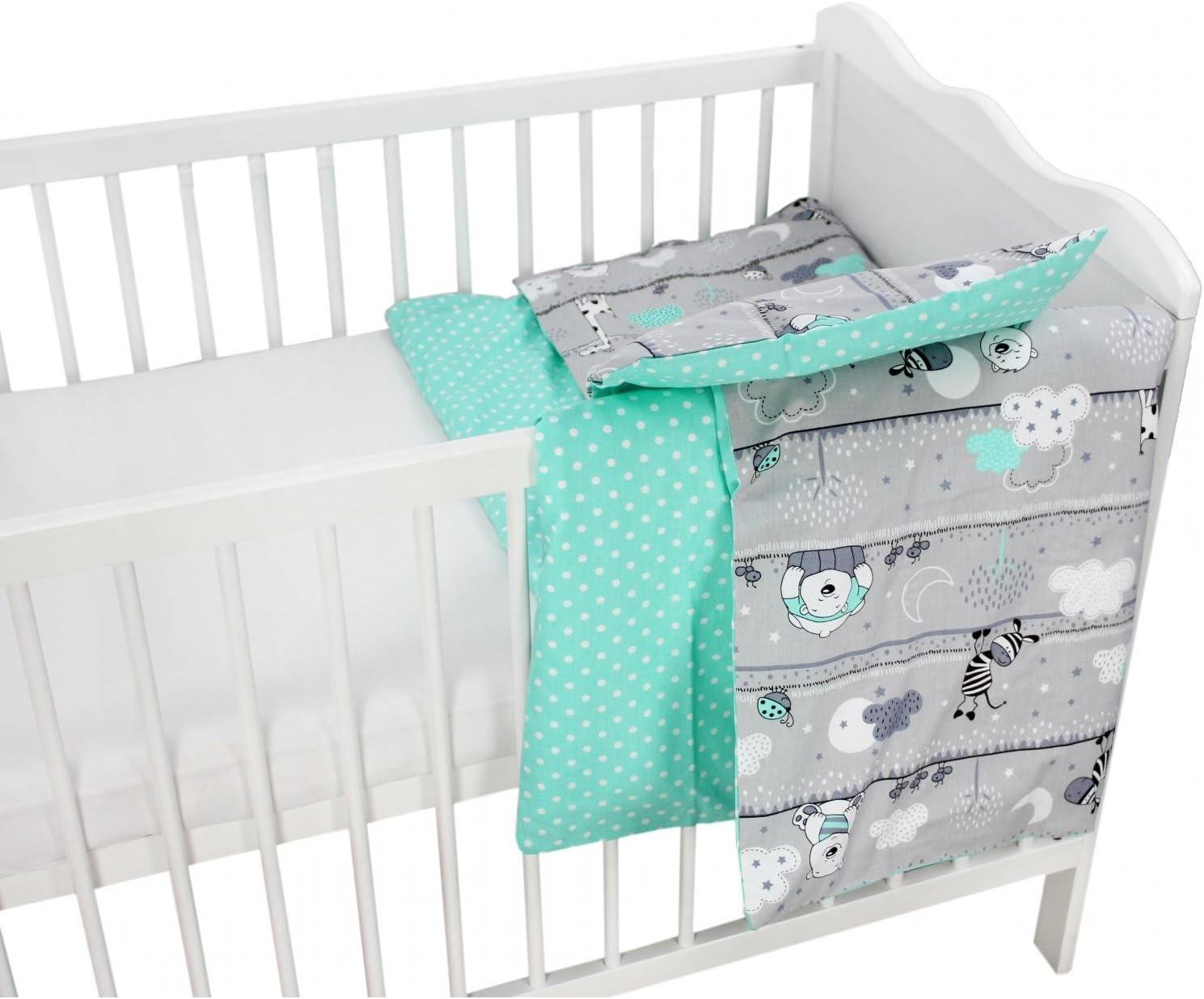 TupTam Children Bedding Set Duvet Cover Pillowcase Two-Sided 135x100 cm Baby Animals Gray//Pink