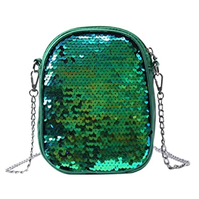 Vodool Glitter Sequins Mini Shoulder Bags Women Party Chain Messenger Bags  Green fbfcf2af6978