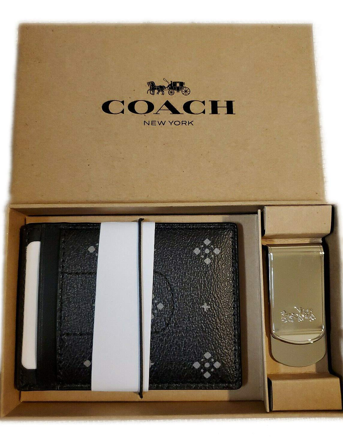 Coach Boxed 3-In-1 Card Case Gift Set Diamond Foulard Print, Black, F73112 8842-4