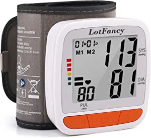 LotFancy Blood Pressure Monitor Cuff Wrist, Digital BP Monitor with Wristband, 2 Users, 180 Reading Memory, Wrist BP Machine with Large LCD Display for Health Monitoring