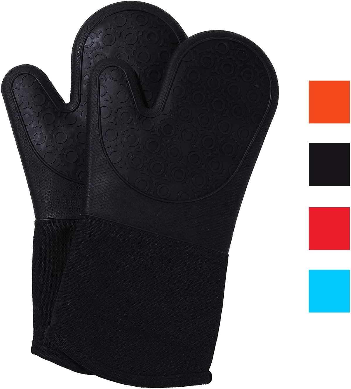 misaya Long Silicone Oven Mitts Quilted Cotton Lining Heat Resistant Kitchen Gloves with Grill Basting Brush, Black