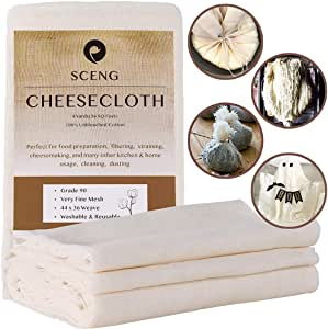 Cheesecloth, Grade 90, 36 Sq Feet, Reusable, 100% Unbleached Cotton Fabric, Ultra Fine Cheesecloth for Cooking - Nut Milk Bag, Strainer, Filter (Grade 90-4Yards)