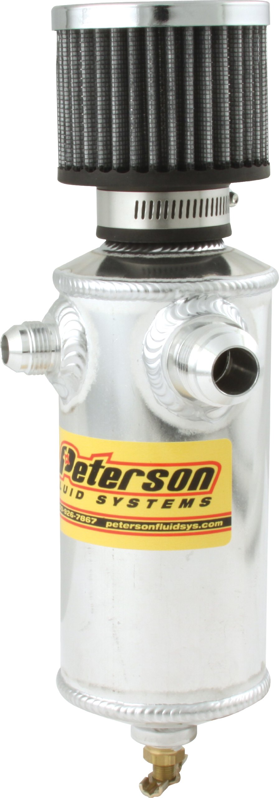 Peterson Fluid Systems 08-0410 Remote Breather Can with 2 Fittings