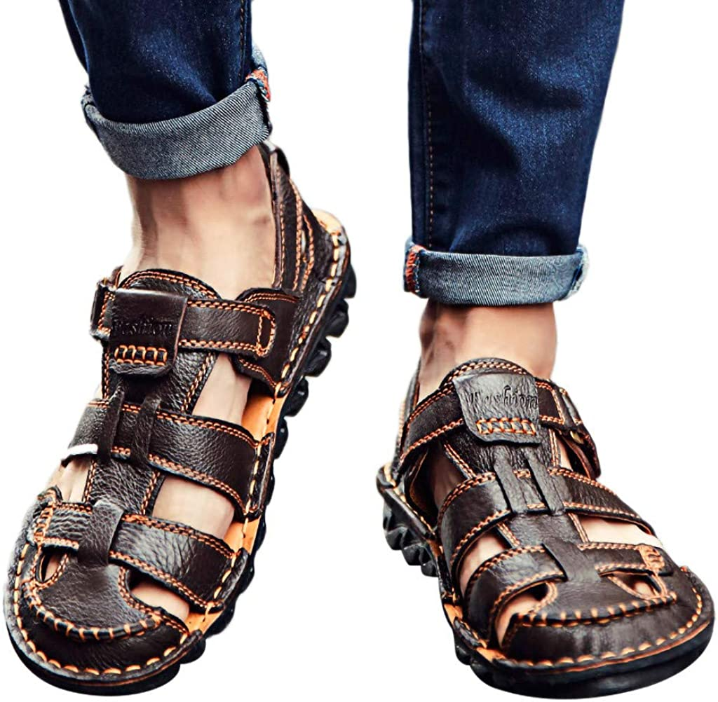 Athli Summer Mens Leather Sandals Flats Beach Walking Bottom Casual Shoes Sports Sandals Outdoor Water Shoes