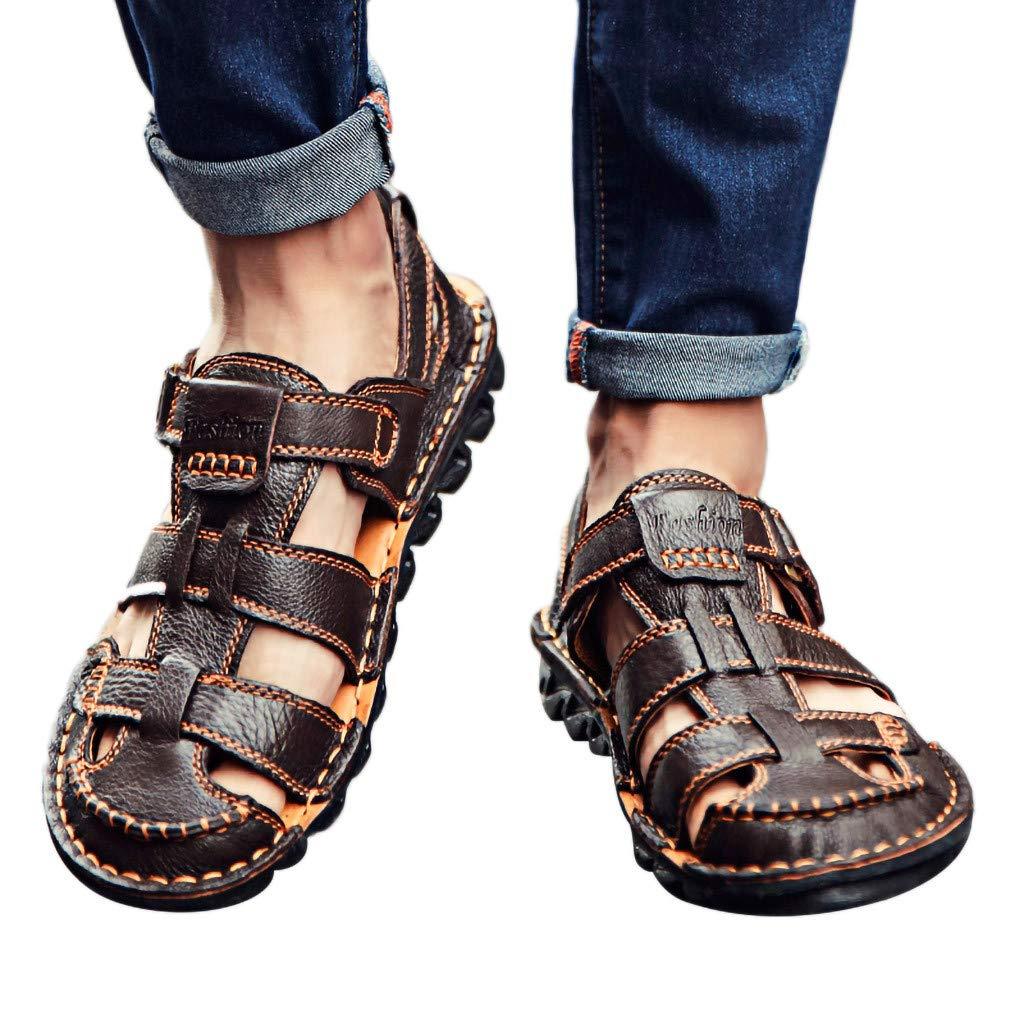 Summer Men's Sandals,Summer Mens Leather Sandals Flats Beach Walking Non-SlipSoft Bottom Casual Shoes