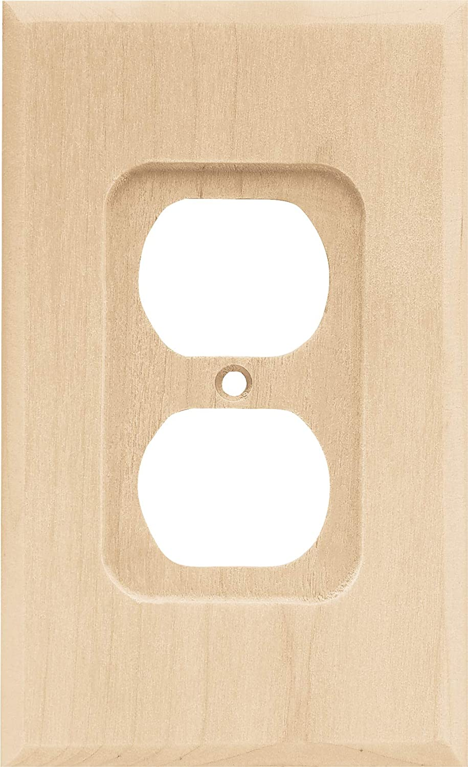 Brainerd 64667 Wood Square Single Duplex Outlet Wall Plate / Switch Plate / Cover Value Pack (6 pieces), Unfinished Wood