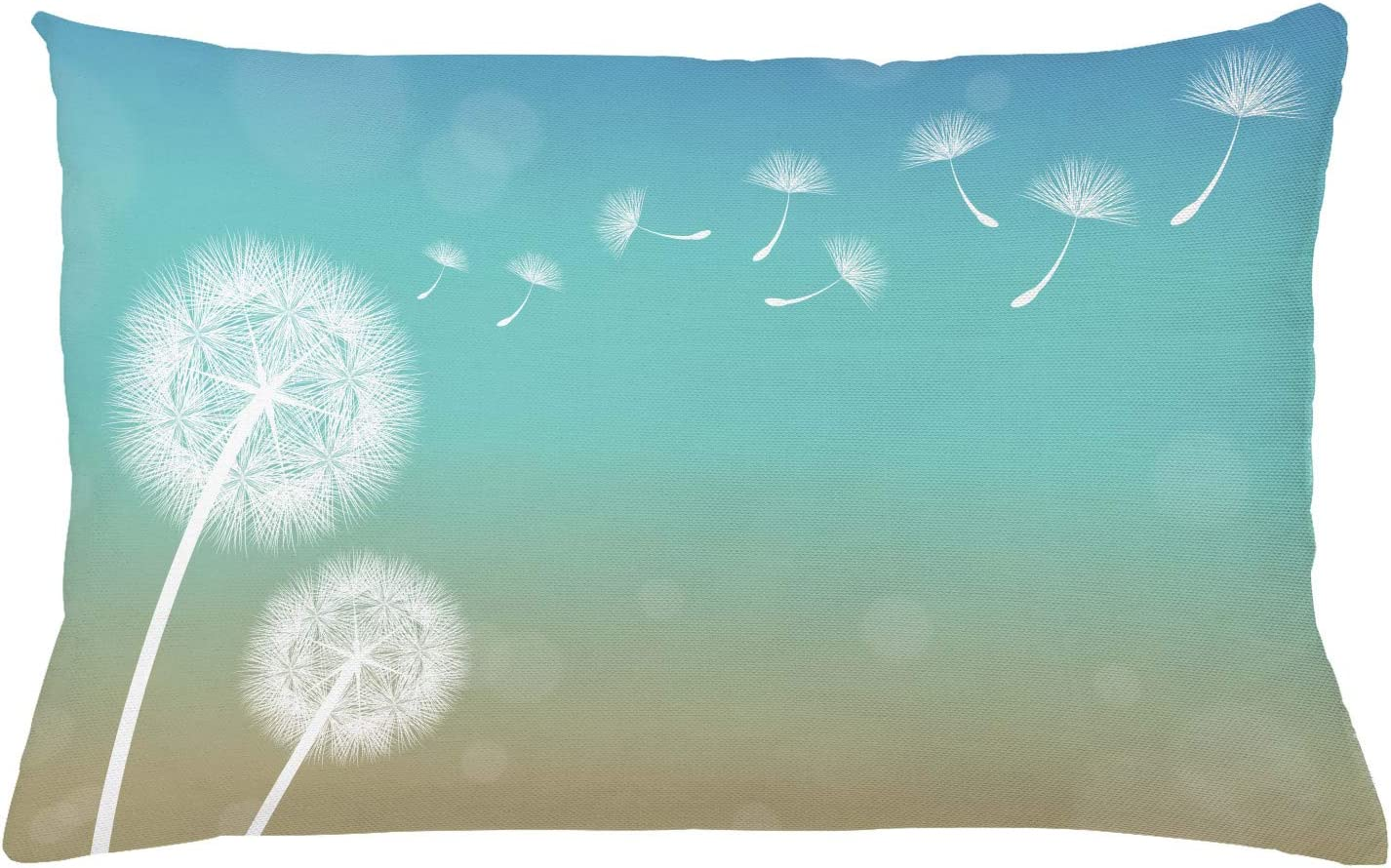 Ambesonne Dandelion Throw Pillow Cushion Cover, Blowball Flowers on Wind Blossoming Nature Outdoors of Growth, Decorative Rectangle Accent Pillow Case, 26