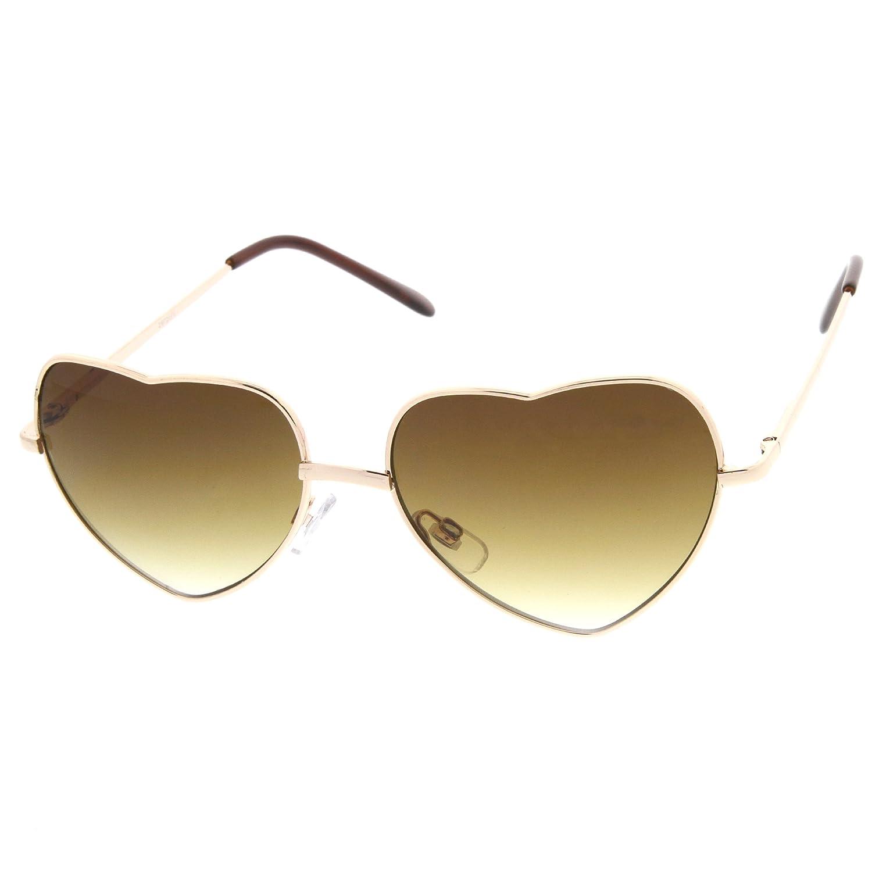 zeroUV - Womens Fashion Thin Metal Cute Heart Shaped Sunglasses