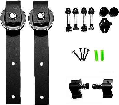 LWZH - Perchas para puerta corredera estilo industrial para puertas interiores de una sola puerta (perchas en forma de J) sin riel deslizante: Amazon.es: Bricolaje y herramientas