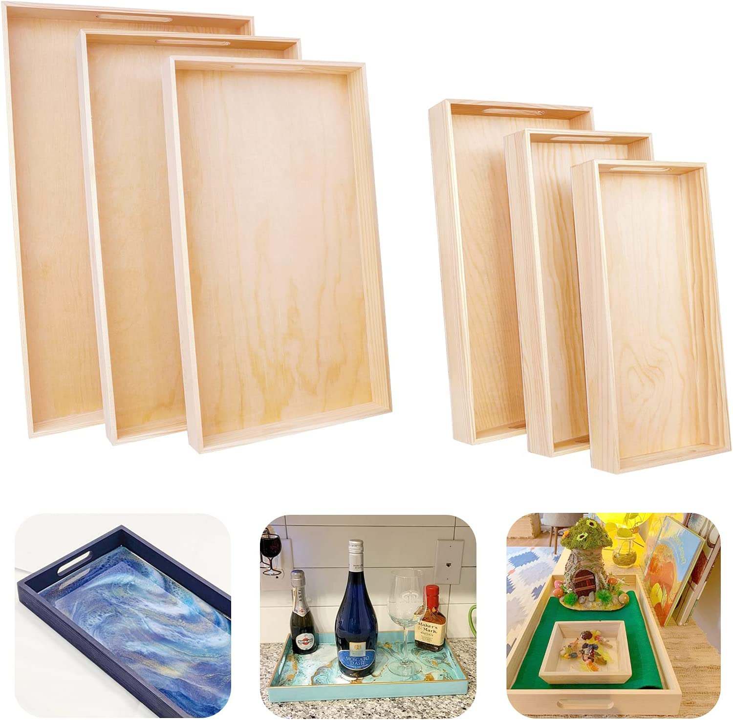 6 Pcs Wooden Serving Trays - Unfinished Reinforced Wooden Decorative Trays with Handles, DIY Crafts Differdent Food Tray Set for Breakfast, Dinner, Tea ,Coffee Table, BBQ, Party(12