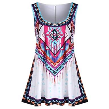 8b9ca5480baf3 POTO❤Women Tank Tops❤ Plus Size Ladies Colourful Bohemian Print Vest Summer  Sleeveless T