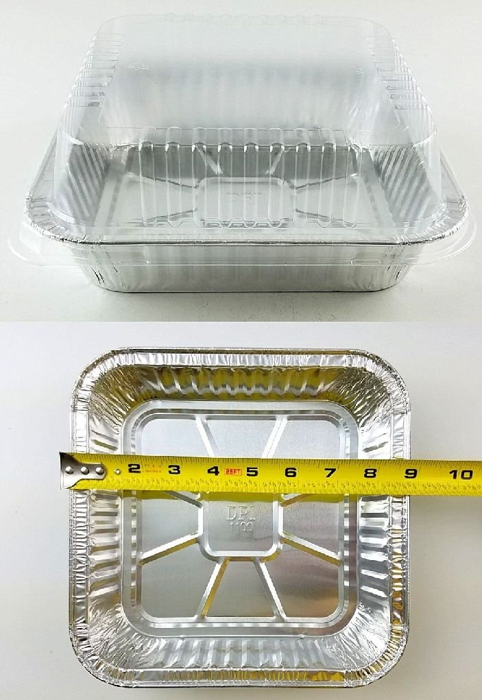 9''x9'' Square Cake Aluminum Foil Pan w/Clear Lid 50 Sets - Disposable Baking Pans by Osislon Series (Image #1)