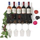 SODUKU Wall Mounted Metal Wine Rack 4 Long Stem Glass Holder & Wine Cork Storage Wine