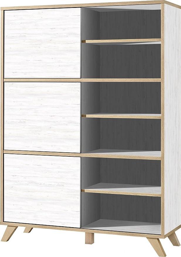 Dreams4Home Estantería II Bergen – Armario, Oficina, estantería de oficina, muebles, puerta corredera Estantería, abierto, BxHxT ca: 120 x 172 x 40 cm, melamina revestido de aglomerado, color blanco, Navarra de roble,