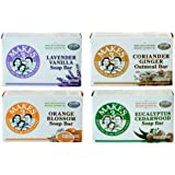 Makes 3 Organic Natural Bar Soap VARIETY PACK For Sensitive & Dry Skin (EWG Product) – Lavender Vanilla, Orange Blossom, Coriander Ginger & Eucalyptus Cedarwood, 4 Oz Each (Pack of 4 Different Scents)