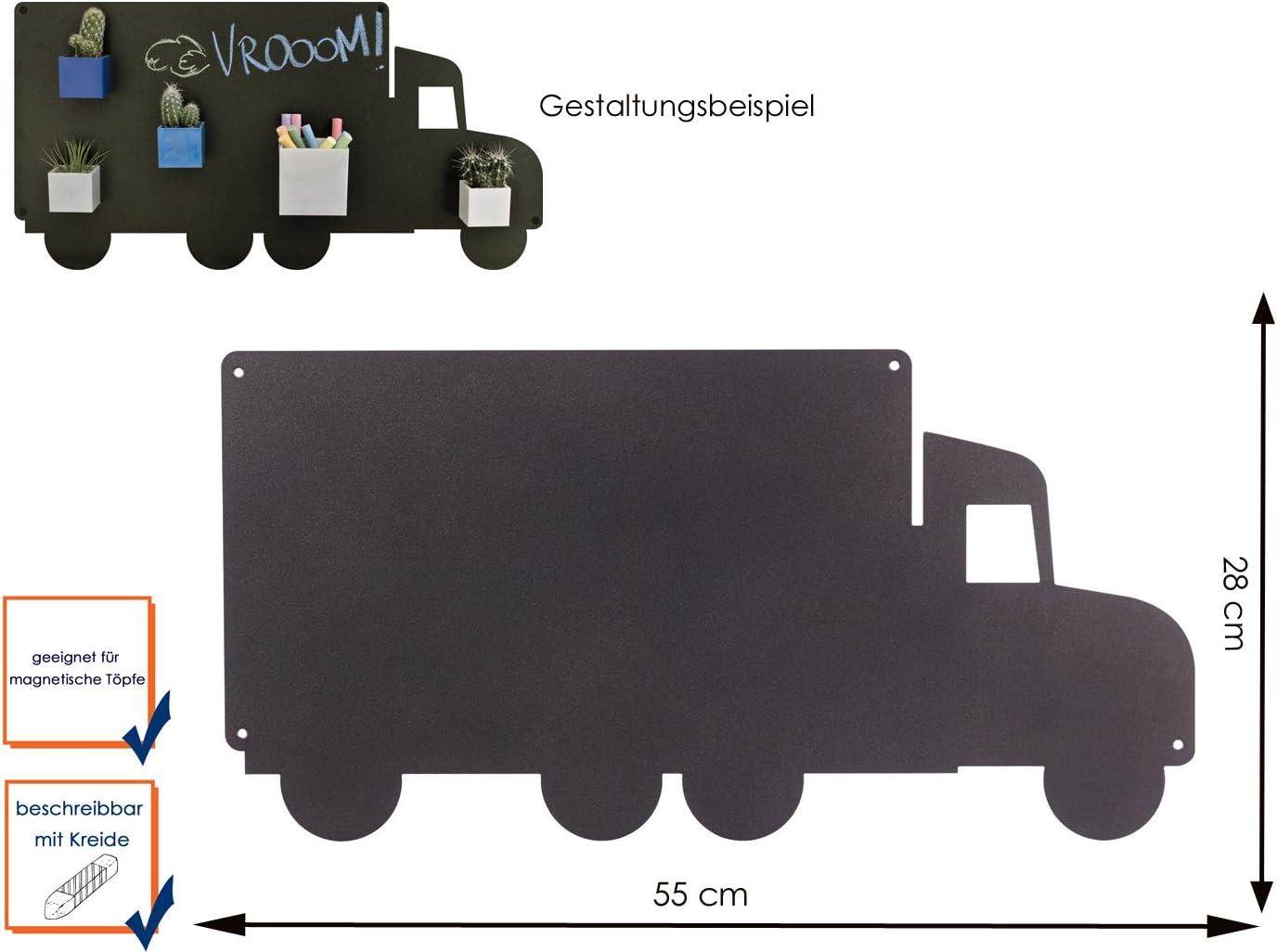 /401 KalaMitica 25028/ antracite PIASTRA METALLICA camion scrivibile per magnetico Vasi come decorazione da parete o da parete /102/