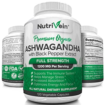 Nutrivein Organic Ashwagandha Capsules 1200mg - 120 Vegan Pills - Black  Pepper Extract - 100% Pure