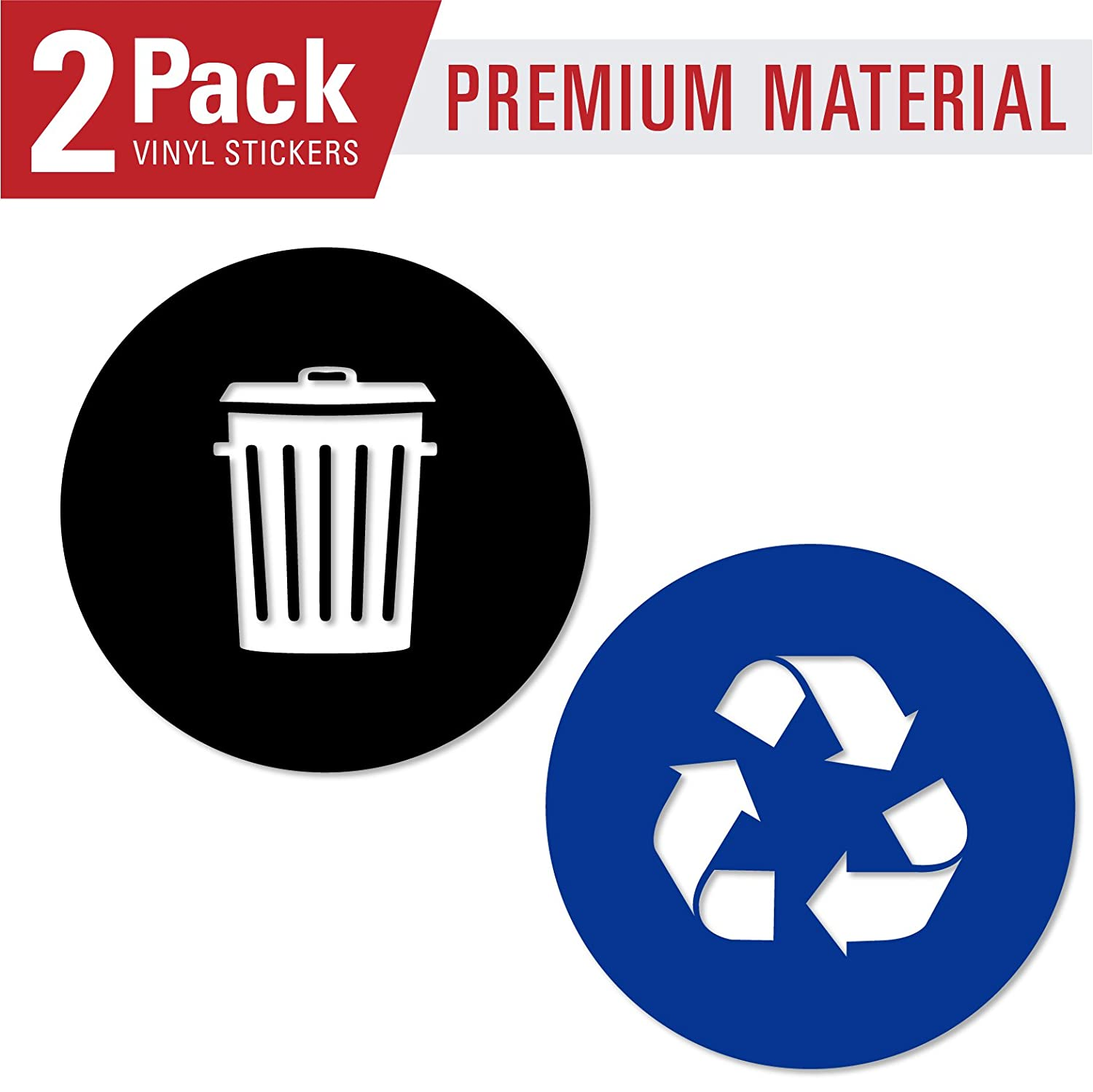 Recycle and trash sticker vinyl modern logo 5 5 x 5 5 1 ea symbol to organize trash cans or garbage containers and walls small blue and black