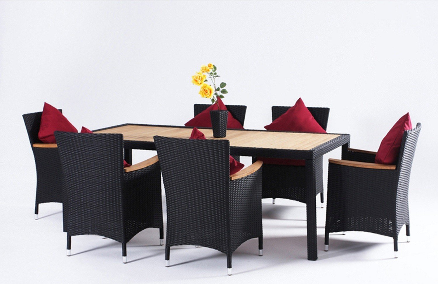 polyrattan sitzgruppe 7tlg tisch armlehnst hle kunstholz. Black Bedroom Furniture Sets. Home Design Ideas