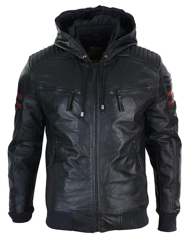 LE CRAZE Mens Guinuine Lambskin Leather Biker Motorcycle Hooded Leather Jacket