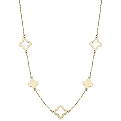 cb576c93cf9a5 Kooljewelry 14k Yellow Gold Clover Station Necklace (18 inch)