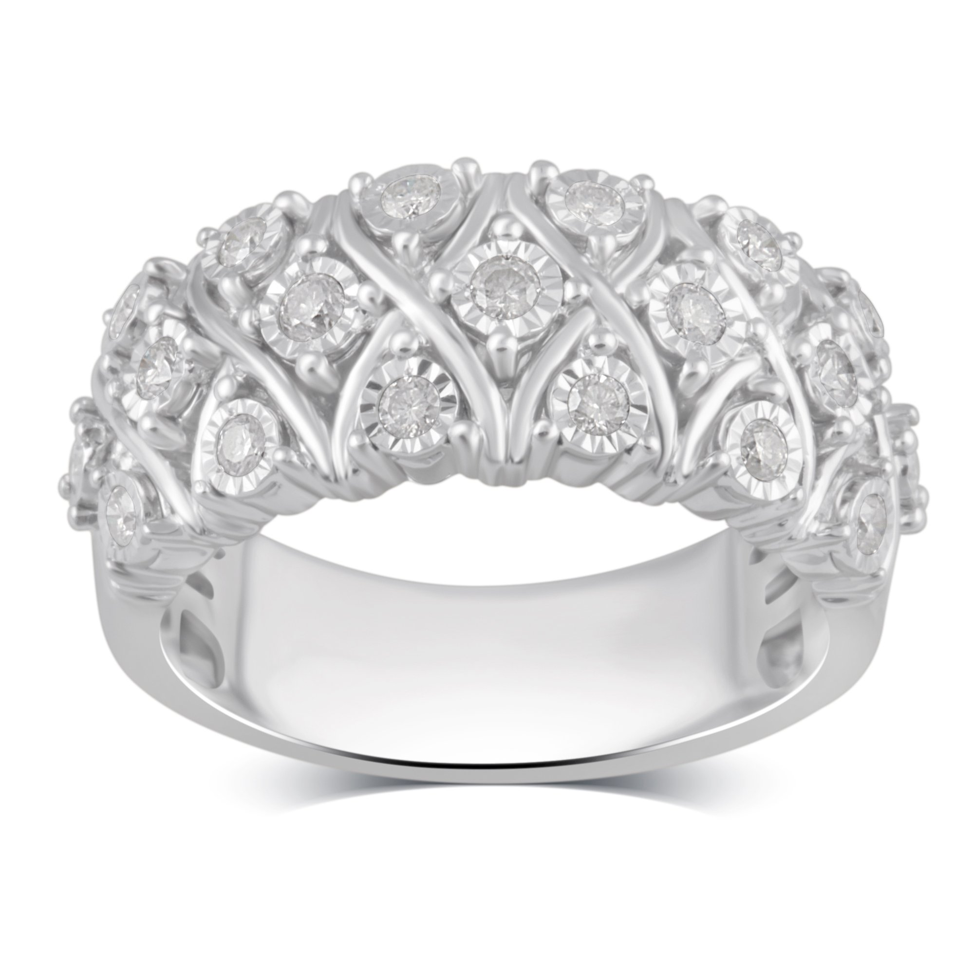 Sterling Silver Diamond Twist Anniversary Ring (1/2 cttw, J-K Color, I3 Clarity)