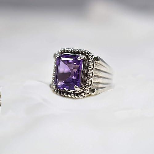 Natural Light Amethyst Gemstone in Sterling Silver Ring