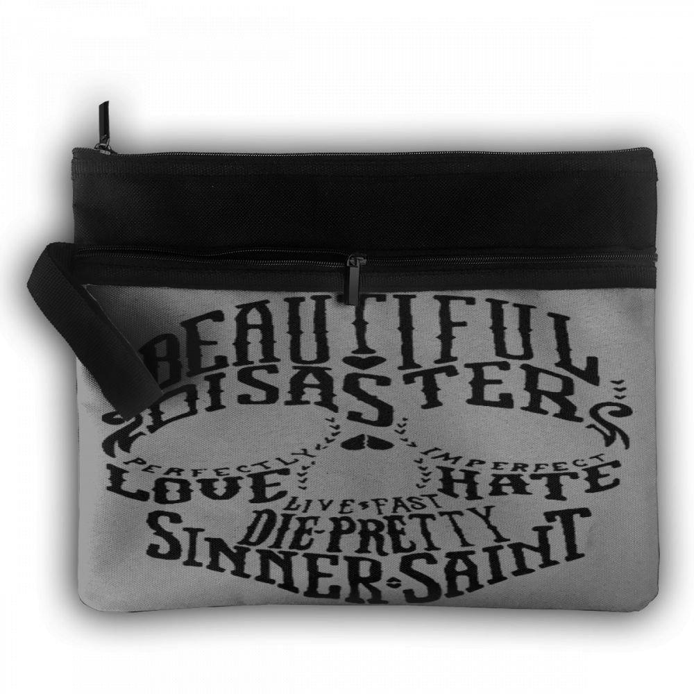 Beautiful Disaster Love Hate Skull Flight Bag Travel Bag Double Decker Zipper