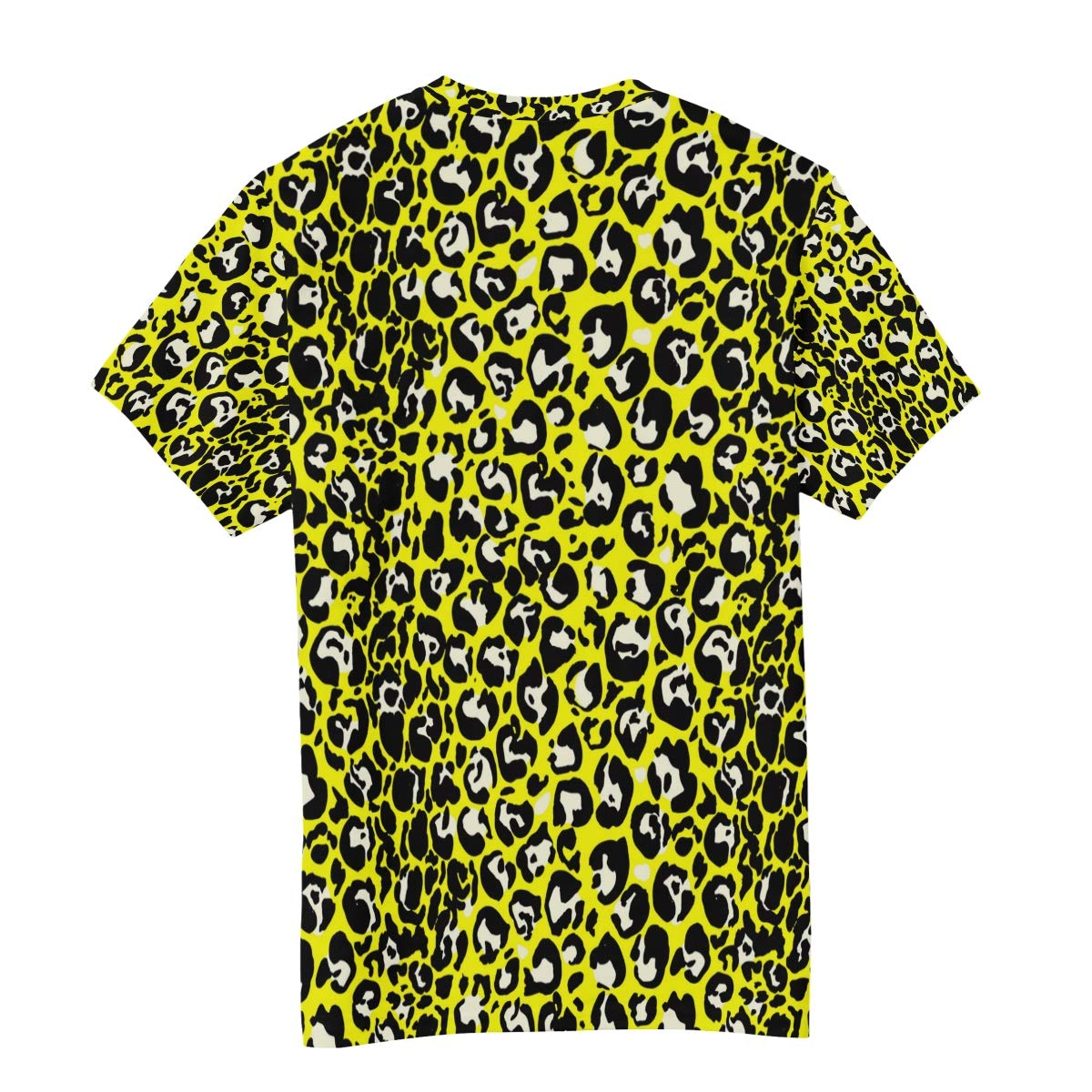Horatiood Huberyyd Bright Yellow Leopard Print Mens T Shirts Graphic Funny Body Print Short T-Shirt Unisex Pullover Blouse