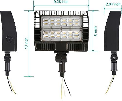 ELECALL LED Flood Light, 50W 5700Lumen, 5000K, Waterproof, IP65, 120-277V, ETL-Listed, 2-Pack