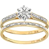 Naava 9ct Yellow Gold 0.05ct Diamond Bridal Set Ring