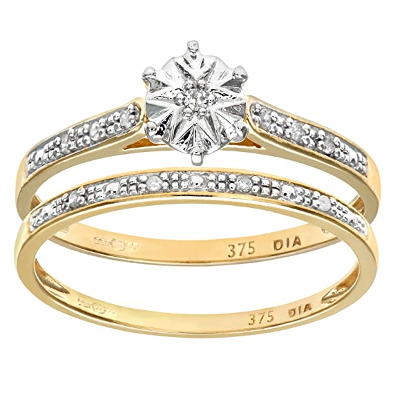Naava - Anillo para Mujer de Oro Amarillo 9K con 11 Diamantes Talla 8.5