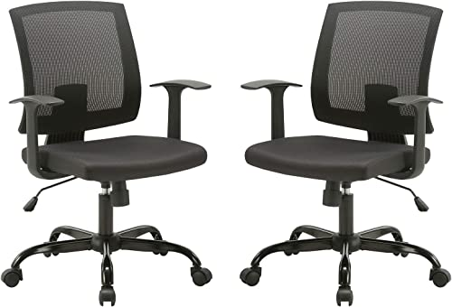CLATINA Mid-Back Mesh Office Desk Chair with Lumbar Support and Armrest Swivel Ergonomic Task for Home Computer BIFMA Certified Black 2 Pack