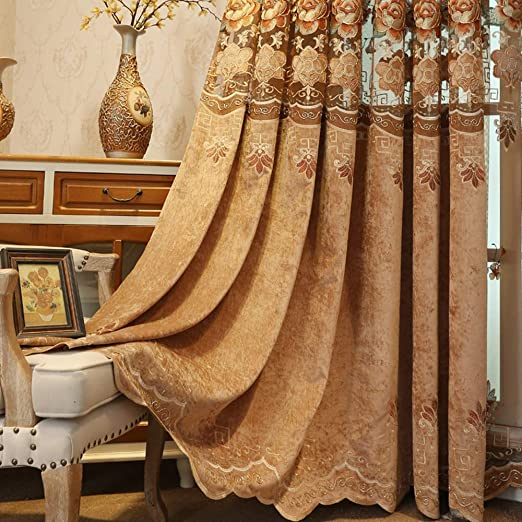 Pureaqu Luxury Floral Embroidered Hollowed Semi Blackout Curtain Cloth Window Treatment Draperies For Bedroom Grommet European Insulated Room Darkening Panels For Living Room 1 Panel 39 Wx84 L Inch by Pureaqu