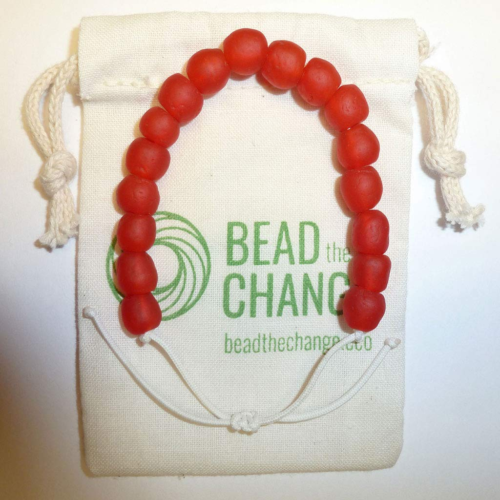 Save the Elephants Recycled Plastic Charity Bracelet Recycled Glass Beads Bracelet