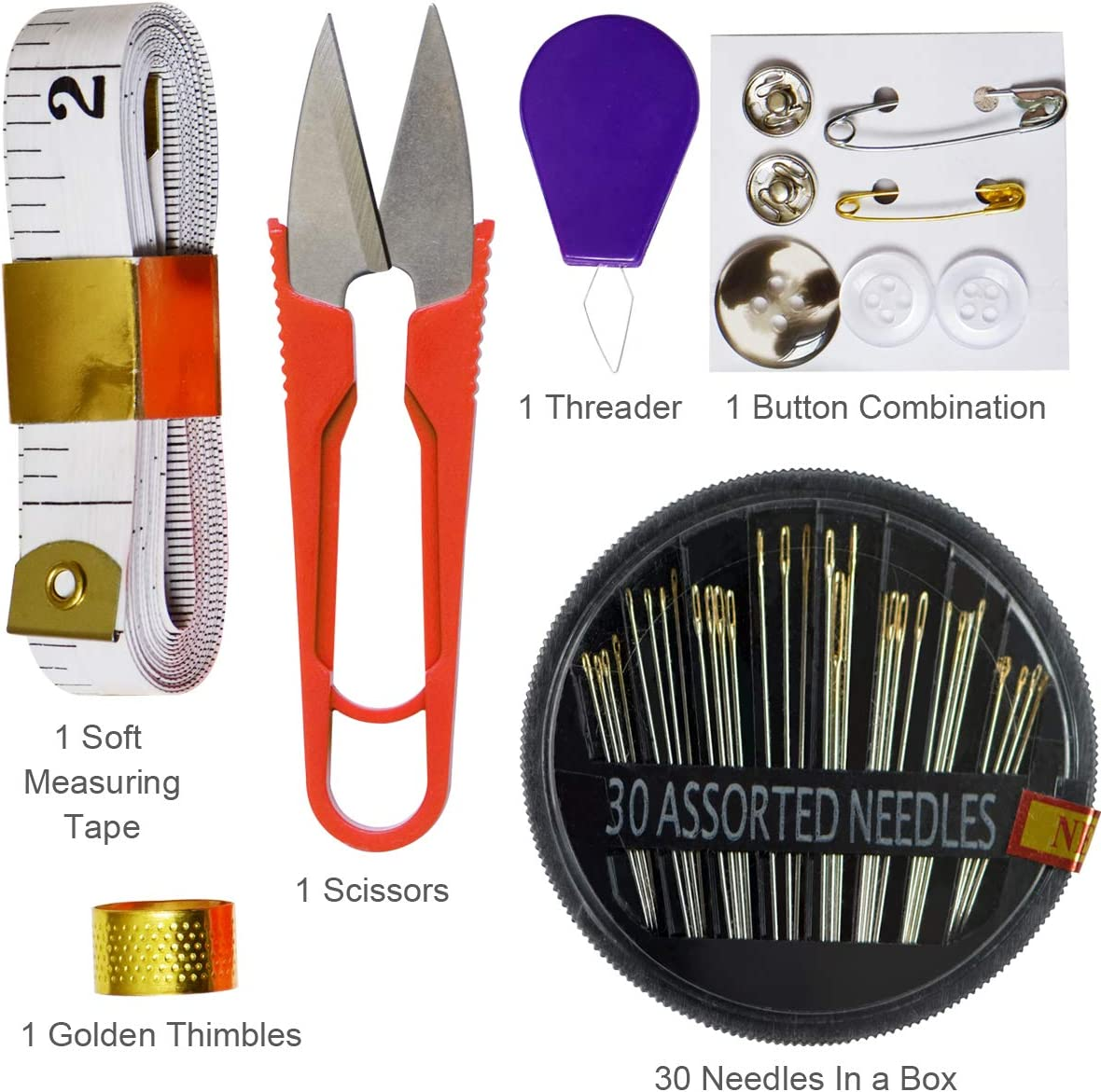 3M Soft Measuring Tapes Thimble for Manual and Machine Sewing Scissor-Buttons Sewing Thread 24 Color 1000 Yards Polyester Sewing kits-30 PCS Gold Needle