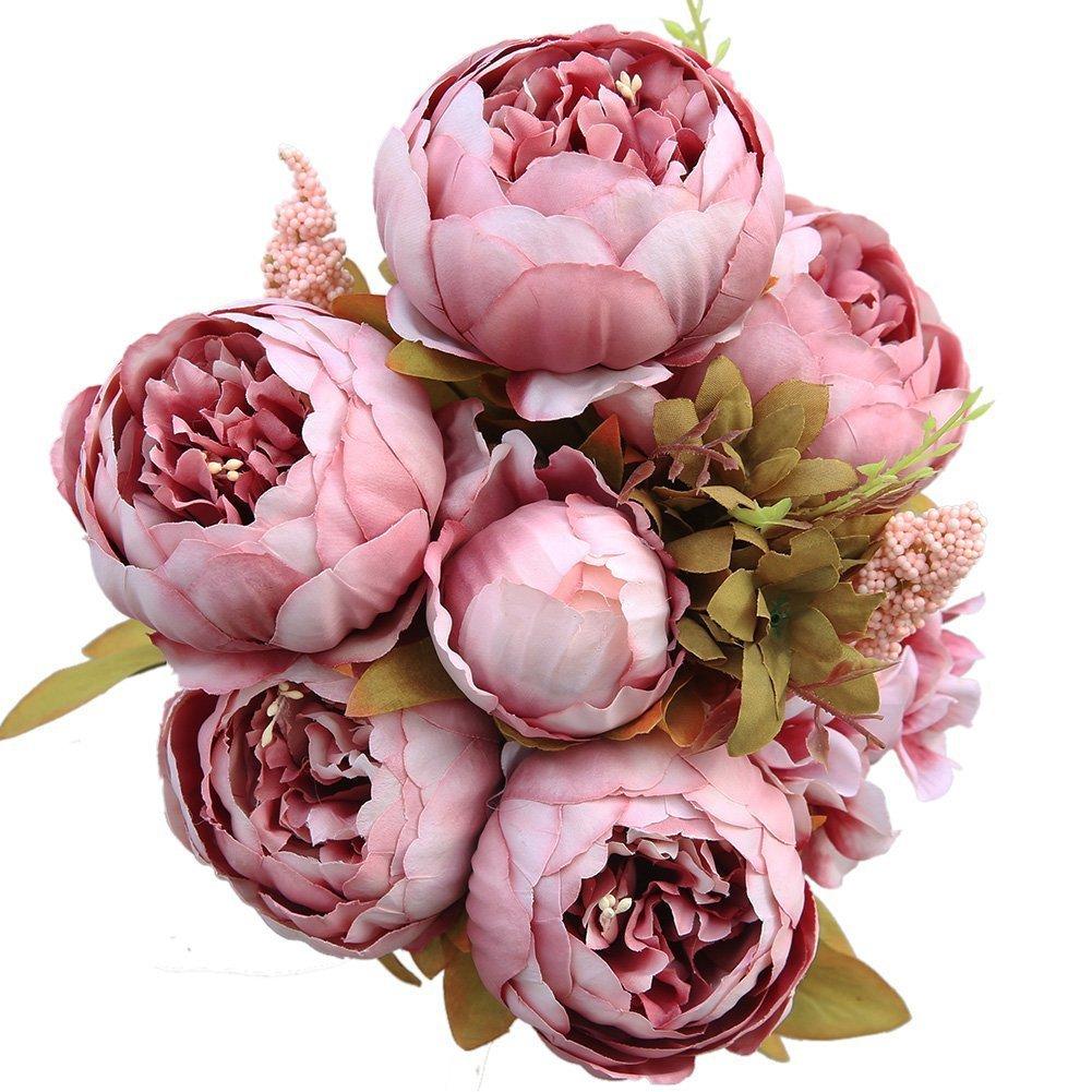 Luyue Bouquet di peonie finte in seta, in stile vintage, per decorare la casa o matrimoni Cameo Brown