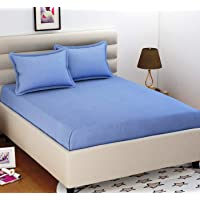 BEVI - Home 160 Tc Solid Microfiber Double Bedsheet with 1 Pillow Cover - (Grey)