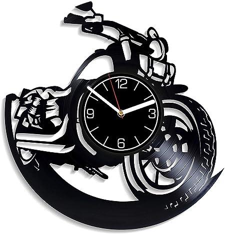 Reloj de pared de vinilo para motocicleta Reloj de vinilo para bicicleta Regalo de motocicleta para hombres Reloj de pared para bicicleta Decoración moderna para el hogar Regalo de escalada Reloj: Amazon.es: