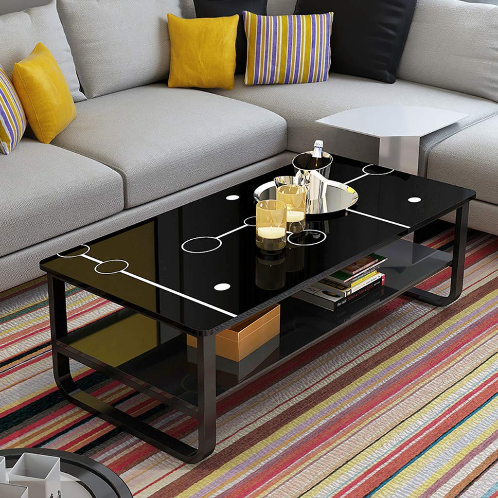 Jinjin Simple Style Computer Desk,PC Laptop Study Table Modern Living Room Double Coffee Table 47×22.8Inch Black/White. (Black) by Jinjin