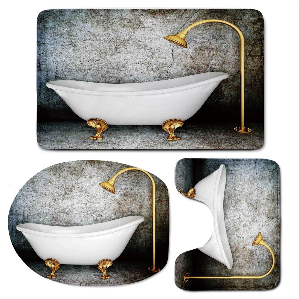 3 Piece Bath Mat Rug Set,Retro,Bathroom Non-Slip Floor Mat,Vintage-Bathtub-in-Room-With-Grunge-Wall-Lifestyle-Resting-Spa-Theme-Art-Print,Pedestal Rug + Lid Toilet Cover + Bath Mat,Grey-White-Gold