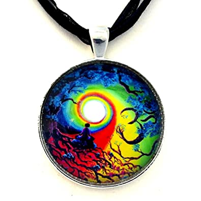 Amazon om chakra tree of life meditation handmade jewelry amazon om chakra tree of life meditation handmade jewelry necklace black ribbon necklace pendant necklaces jewelry mozeypictures Image collections