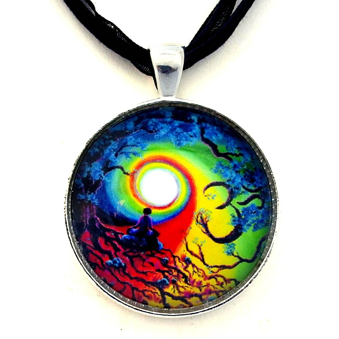 Om Chakra Tree of Life Meditation Handmade Jewelry Necklace (Black Ribbon Necklace)