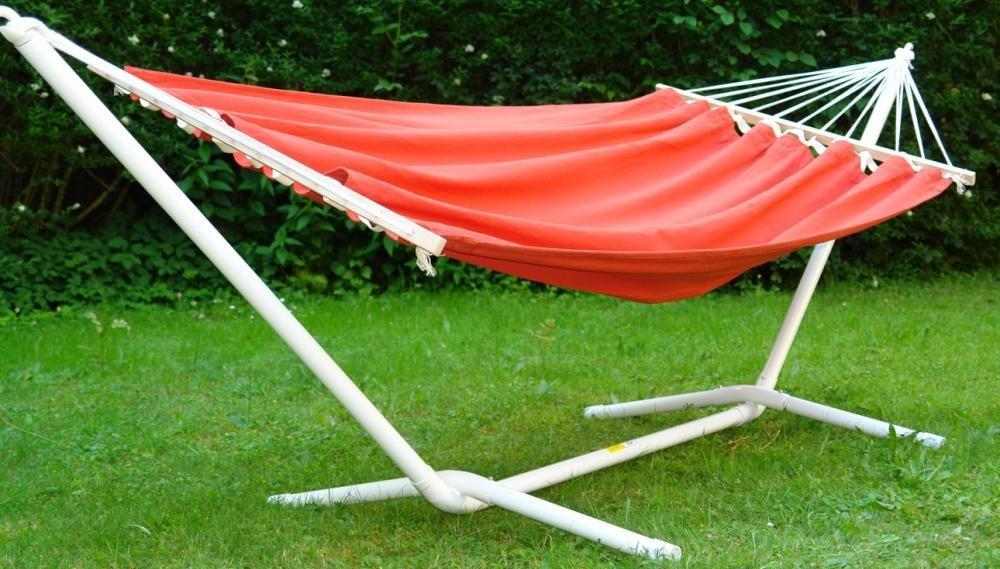 Hochwertiges Set Hängemattengestell und Aruba elegance uni rot wetterfest